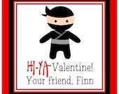 Valentine Ninja Sticker/Tag, Gift Enclosure Card or Return Address Label - Set of 24