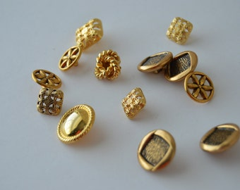 REDUCED ~ Gold Metal Buttons x 13 - Various sizes