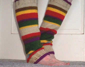Leg Warmers in the Colors of Tom Baker's Fourth-Doctor's scarf
