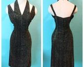 Vintage 1950s Halter Cut Out Lame Cocktail Wiggle Dress M/L