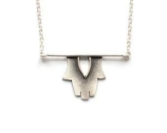 Hamsa Horizon Necklace - Modern Silver Judaica