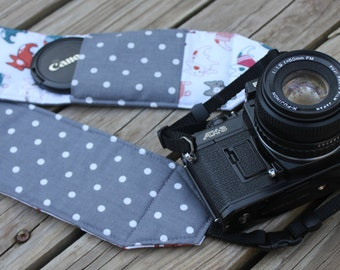 Monogramming Included Extra Long Wide Camera Strap for DSL camera French Bulldog Print with lens cap pocket