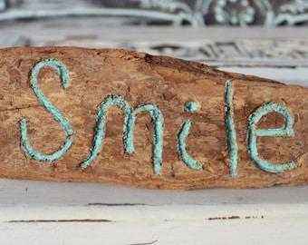 Smile Driftwood Sign , coastal Home Decor , Beach Decoration