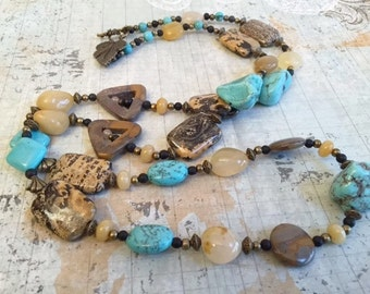 Christmas in July Sale Turquoise Blue, Brown and Yellow, Long Gemstone Necklace Earring Set, Jasper, Magnesite, Agate