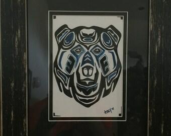 Pacific northwest haida style bear head painting