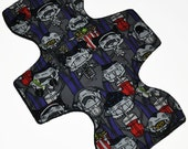 Moderate Hemp Core- Vampires at the Movies Reusable Cloth Overnight Pad- WindPro Fleece- 10.5 Inches (26.5 cm)
