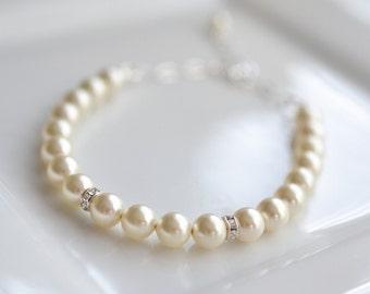 Wedding Jewelry Pearl and Crystal Bridal Bracelet Vickie