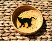 SALE ~ Cat Food Water Bowl - Handmade Speckled Ivory Stoneware Cat Bowl - Black Cat Silhouette - Ready To Ship