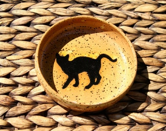 Cat Food Water Bowl - Handmade Speckled Ivory Stoneware Cat Bowl - Black Cat Silhouette - Ready To Ship