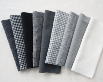 Felted Wool Fabric in a Wonderful Combination of Black, Grey, and White Tones - Rug Hooking - Quilting - Wool Applique - Quilting Acres