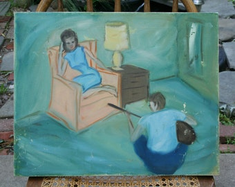 Man Singing To Woman Folk Art Original Painting on Canvas / Unique Style