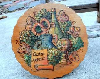 Vintage German Guten Appetit Wood Wall Hanging / Round / Wood Burning