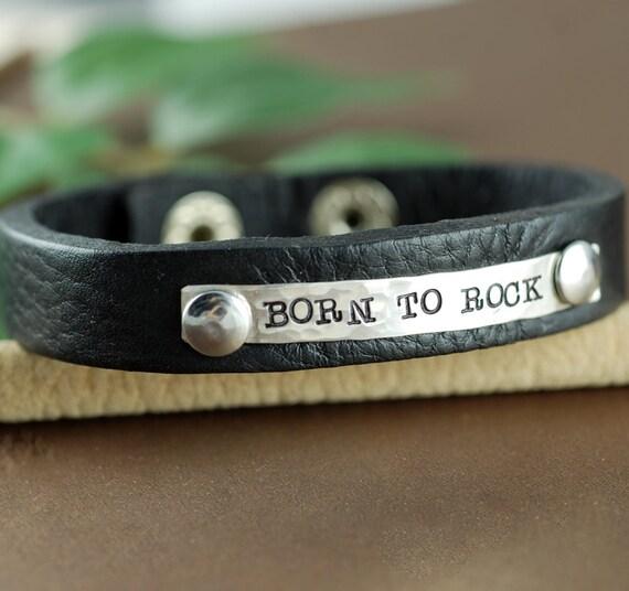 Born to Rock Mens Leather Bracelet, Personalized Leather Cuff Bracelet, Men's Leather Bracelets, Leather Cuff, Silver Cuff Bracelet