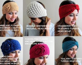 Head Wraps for Women Knit Head Wrap Ear Warmers Choose Any THREE Thick Headband Knitted Turban headband Sale