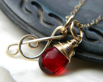 Forged treble clef music note and faceted red garnet quartz necklace - Handmade 14k gold filled jewelry
