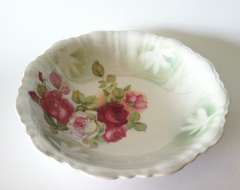 Vintage China Serving Bowl With Roses Floral 1491 Red Roses ~ Decorative Bowl ~ Fruit Bowl ~ Vintage Bowl