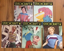 1950s Stitchcraft magazines 5 issues: Jan & Feb 1950, Jan Feb and May 1951 Australian edition Knitting Embroidery and craft projects