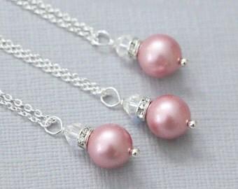 Matte Pink Bridesmaid Gift Necklace, Swarovski Powder Rose Pearl Necklace, Bridesmaid Jewelry, Bridesmaid Necklace, Flower Girl Necklace