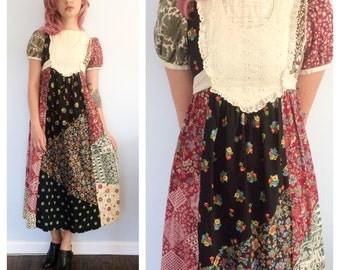 Vintage 70s Patchwork Maxi Dress