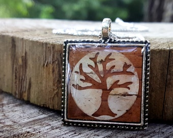 Tree Necklace -  Real Birch Bark Necklace -  Square Tree Silhouette - Woodland Rustic Wedding Bridesmaids Jewelry - Tree of Life Necklace