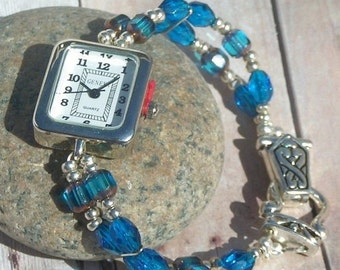 ON SALE 50% OFF Silver Watch, Blue Window and Faceted Beads Jewelry     Sold as is 6.5 inches