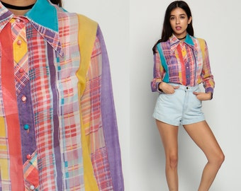 Plaid Shirt Button Up 70s PATCHWORK Sheer Checkered Long Sleeve Cotton Boho 1970s Vintage Hippie Rainbow Bohemian Grunge Large xl