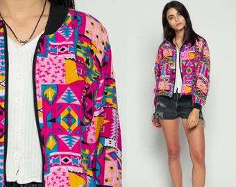 80s Windbreaker Jacket Aztec TRIBAL Print Boho Psychedelic 90s Grunge Hipster Bohemian Patchwork Vintage 1980s Southwestern Hot Pink Small