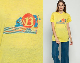 Boat Shirt Sailboat THE BRIGHT SPOT 13 Retro TShirt Vintage Burnout T Shirt 80s Sheer Paper Thin Tee Graphic Print 1980s Yellow Large xl