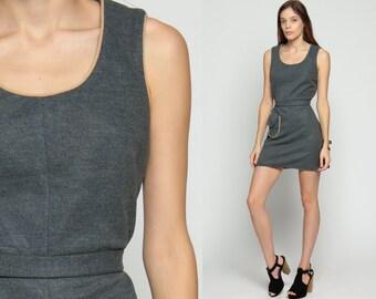 Wool Dress 1960s Mini Mod Jumper Pinafore Shift Grey 60s Vintage Sleeveless Belted Sixties Minidress Pocket Medium