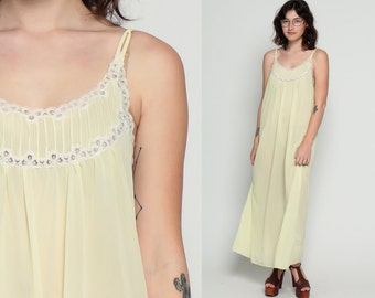 Nylon Nightgown Lingerie Pastel Lingerie Pale Yellow Lace SHEER 70s Lace Slip Dress Long Maxi Bohemian 1970s Vintage Boho Spaghetti Large