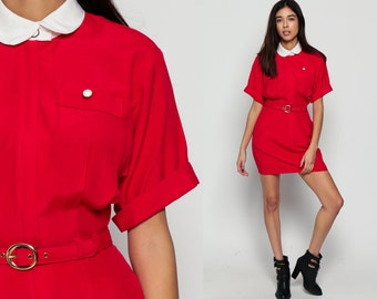 Secretary Dress Peter Pan Collar 80s Mini High Waist ShirtDress Red BELTED Retro Collared Short Sleeve 1980s Hipster Plain Medium