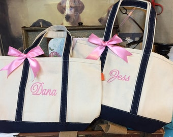 Personalized Monogrammed Canvas Tote Bags, Bridesmaid Gift, Set of 11