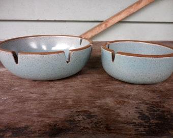 2 Edith Heath Ceramics Sausalito California Pottery Blue Ashtrays