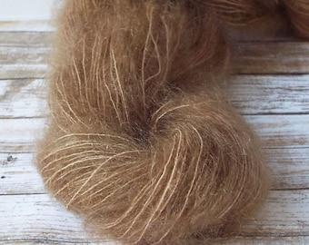 Hand Dyed Mohair Yarn, Brushed Mohair Yarn, Hand Painted Yarn, Lace Yarn, Fuzzy Yarn, Knitting Yarn, Baby Prop Yarn,  Caramel