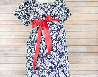 Black Damask Maternity Hospital Delivery Gown -Super Soft -Perfect Snaps for Breastfeeding, Skin to Skin, and Epidural