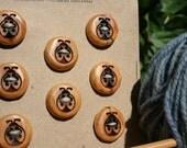 SALE! 8 Ladybug Red Cedar Buttons- Reclaimed Western Red Cedar Wood- Handmade Wooden Buttons- Eco Craft Supplies- Knitting Supplies