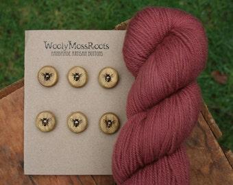 6 Honeybee Buttons- Oregon Osage Orange Wood- Handmade Wooden Buttons- Knitting, Sewing, Craft Buttons