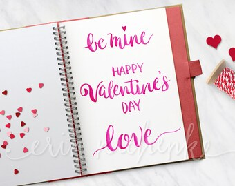 Valentine's Day Overlays, Hand lettered watercolor phrases, photoshop template, transparent png files