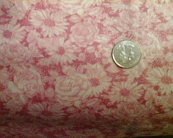 Sale Dark Pink Floral Tonal Print 100% Cotton Quality Fabric 1 yard