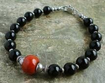 Black Onyx and Red Jasper Gemstone Beaded Bracelet for Men, Guys, Him, Handmade Mens Jewelry