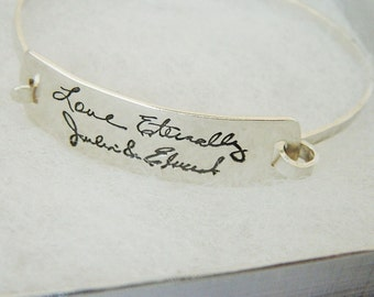 Handwriting Signature Bracelet  in Sterling Silver