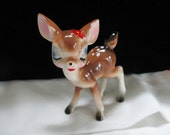 Big Eye Baby Fawn Red Flower - Standing  Spotted Fawn Porcelain  Deer Figurine  Long Legs Japan