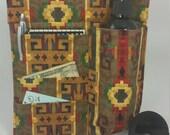 Massage Therapy single bottle RIGHT hip holster, 3 side pockets, Santa Fe print, black belt