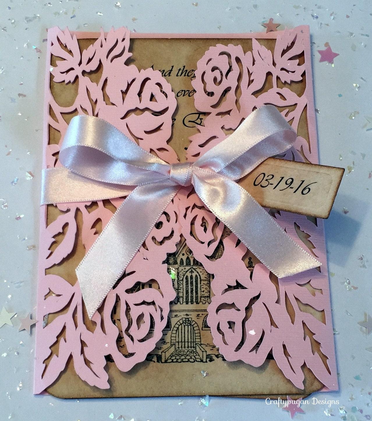 Fairytale Invitations Wedding: 30 Fairytale Wedding Invitation Suite With Rose Wrap RSVPs