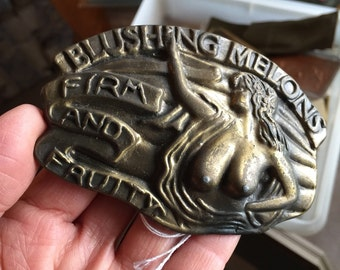Vintage 1970s MBCI Brass Belt Buckle / Blushing Melons Firm and Fruity / Naughty  Novelty Buckle, Man Cave