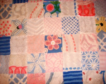 WATER LILIES ~ a Made-to-Order Vintage Cotton Chenille Patchwork Quilt