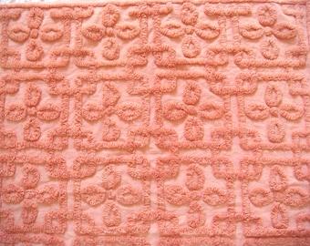 Rare Hofmann Peach Plush Vintage Cotton Chenille Bedspread Fabric 18 x 24 Inches
