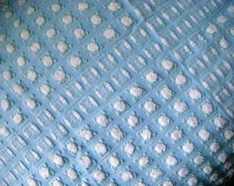 Morgan Jones Blue Rosebud Vintage Cotton Chenille Bedspread Fabric 12 x 24 inches