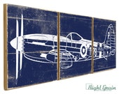 Fighter Airplane Wall Art in Custom Colors - Airplane Print Collection Gift for Him 12x36