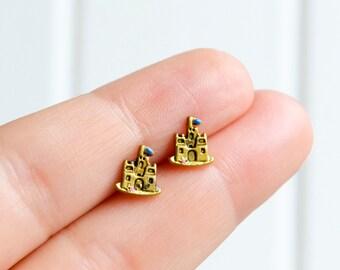 Castle Earrings, Fairy Tale Earrings, Handmade Earrings, Castle Studs, Golden Studs Kawaii Hipster Trendy Miniature Posts, Gifts for Her